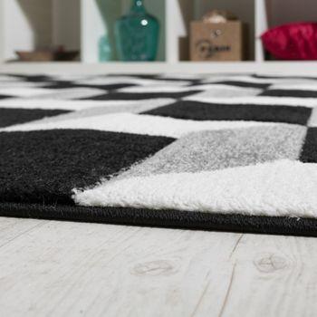 Wohnzimmer Teppich Geo Design Würfel Muster Grau Creme Ausverkauf – Bild 3