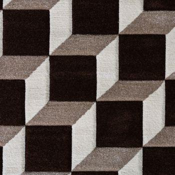 Wohnzimmer Teppich Geo Design Würfel Muster Braun Creme Ausverkauf – Bild 2