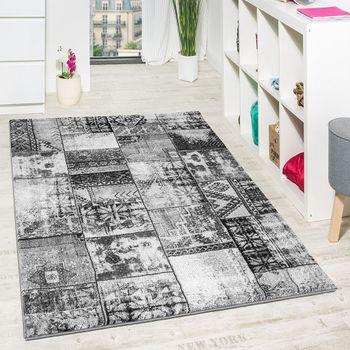 Wohnzimmer Teppich Grau Orient Muster Ausverkauf – Bild 1
