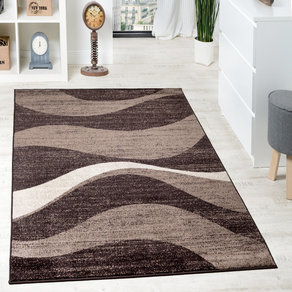 tapis design moderne ondul poils plats courts m lang marron beige stock restant. Black Bedroom Furniture Sets. Home Design Ideas