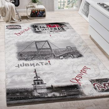 Designer Rug Istanbul City Bosphorus Bridge Pattern Modern Carpet Grey Cream – Bild 1