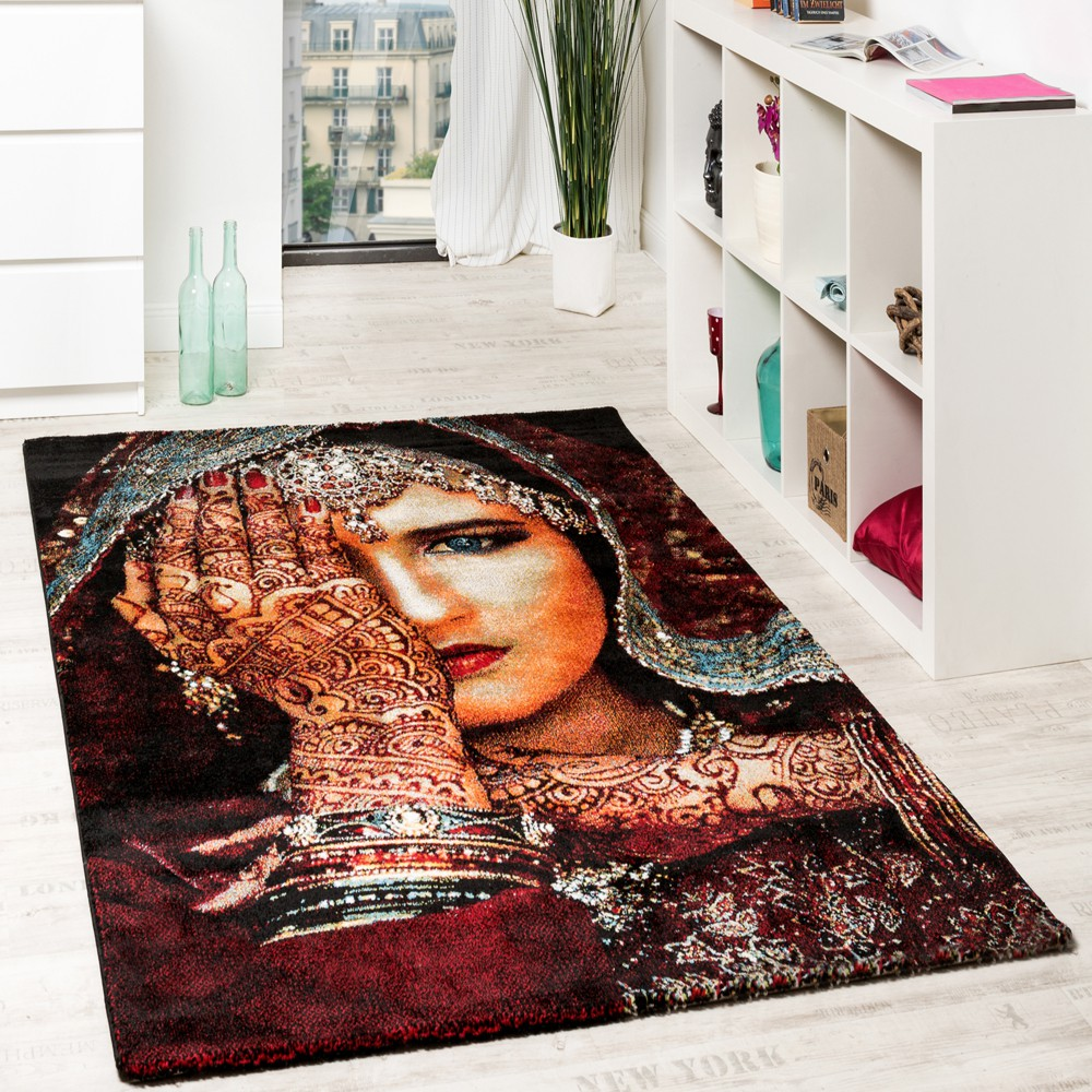 Designer Carpets Modern Nomad Woman With Henna Tattoo Multicolour Red Black