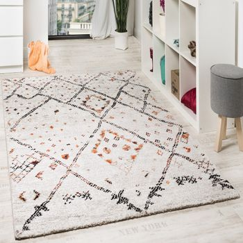 Nomadic check motif rug cream and orange