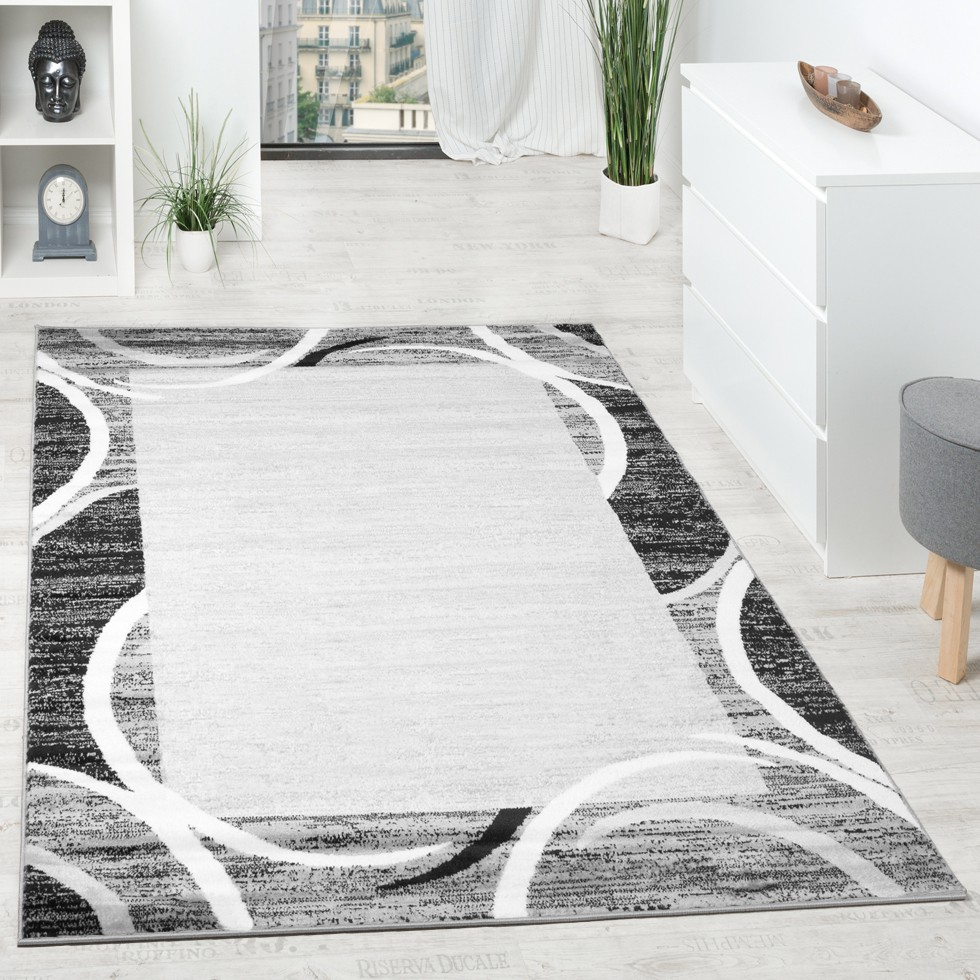 Living Room Rug Designer Border Flecked Grey Black Cream Unbeatable Deal