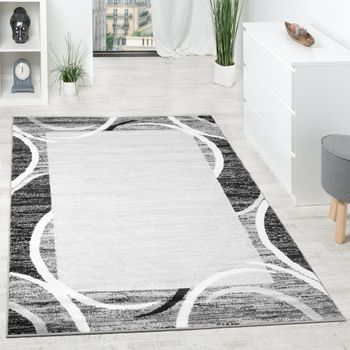 Rug Designer Living Room Grey Black Cream