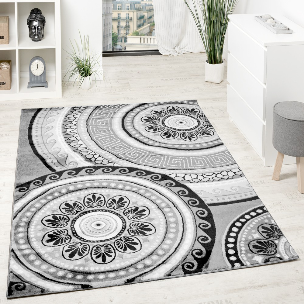 tapis design poils courts avec fil brillant classique oriental gris anthracite tapis optique. Black Bedroom Furniture Sets. Home Design Ideas