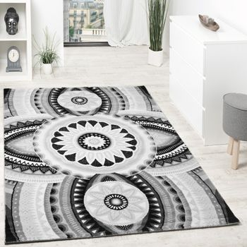 Tapis Fil Brillant Abstrait Ornements Gris Anthracite Blanc