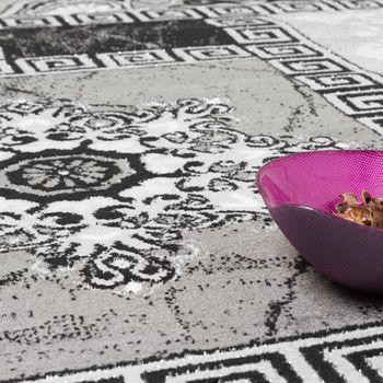 Designer Teppich Klassische Ornamente Kronleuchter Optik Grau Anthrazit Silber  – Bild 3