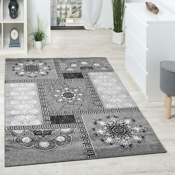 Carpet Classic Ornaments Grey Anthracite Silver