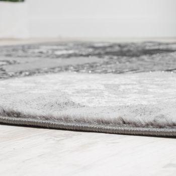 Designer Teppich Klassische Ornamente Kronleuchter Optik Grau Anthrazit Silber  – Bild 2