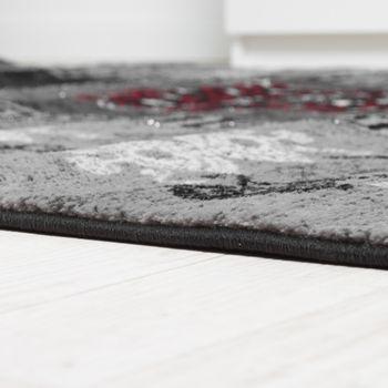 Designer Teppich Klassische Ornamente Kronleuchter Optik Rot Grau Anthrazit  – Bild 2