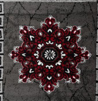 Designer Teppich Klassische Ornamente Kronleuchter Optik Rot Grau Anthrazit  – Bild 3