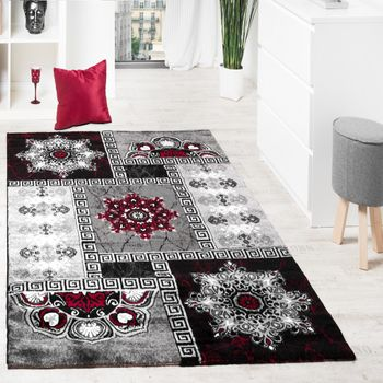 Carpet Classic Ornaments Red Anthracite Silver