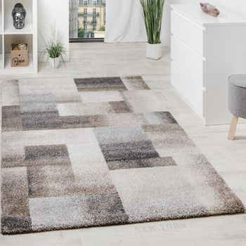 Woven Carpet Modern High Quality Mottled Chequered In Beige Cream Grey – Bild 1