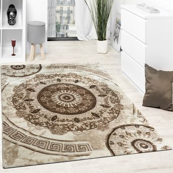 Designer Carpet Glitter Yarn Classic Oriental Ornaments In Beige Brown Cream – Bild 1