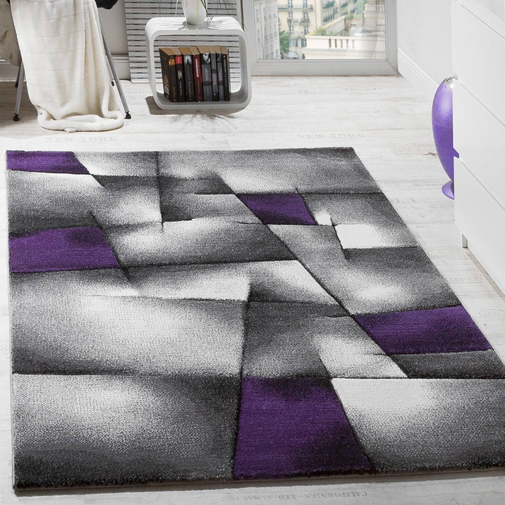 Designer Carpet Checkered Modern In Contour Cut Pattern Purple Grey