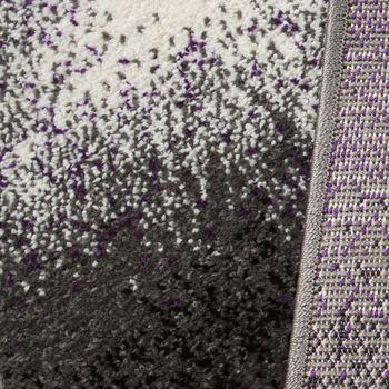Designer Teppich Wohnzimmer Teppiche Kurzflor Meliert Lila Grau Schwarz Creme – Bild 3
