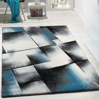 Wohnzimmer Teppich Kurzflor Türkis Grau