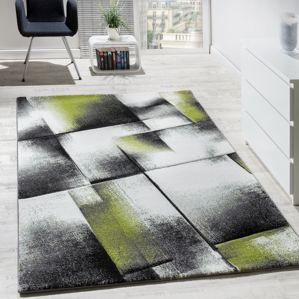 designer carpet short pile mottled green rug24