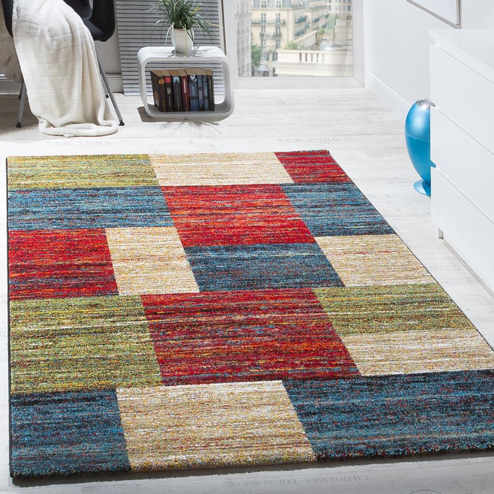 Teppiche Modern Wohnzimmer Teppich Spezial Melierung Karo Muster Rot Creme  Grün
