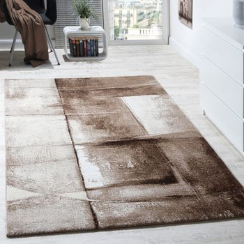 Designer Carpet Modern Rug Chequered Trendy Mottled In Beige Brown Grey – Bild 1