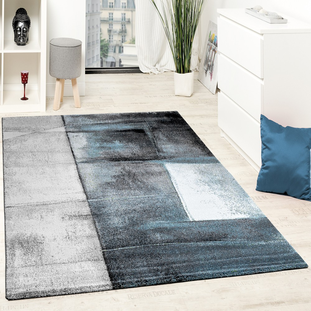 tapis de cr ateur moderne poils ras salon tendance chin turquoise cr me gris tapis tapis poil ras. Black Bedroom Furniture Sets. Home Design Ideas