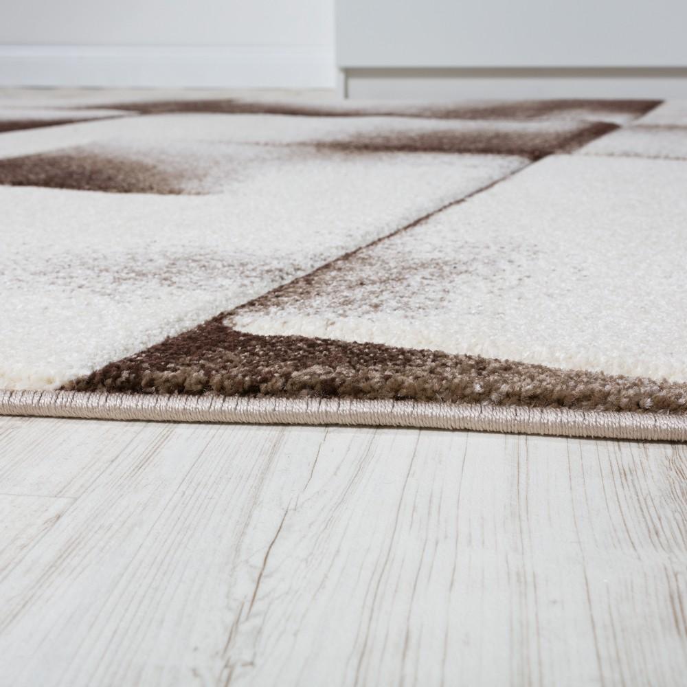 Wohnzimmer Teppich Kurzflor Braun Beige Creme Meliert Design Teppiche