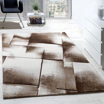 Wohnzimmer Teppich Kurzflor Braun Beige Creme Meliert