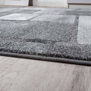 Edler Designer Teppich Hochtief-Effekt Kurzflor Karo Optik Grau Meliert – Bild 2