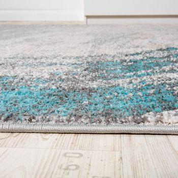 Edler Designer Teppich Hochtief-Effekt Kurzflor Relief OptikTürkis Grau Meliert – Bild 2
