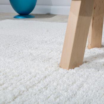 Shaggy Teppich Micro Polyester Wohnzimmer Elegant Strapazierfähig Hochflor Creme – Bild 2