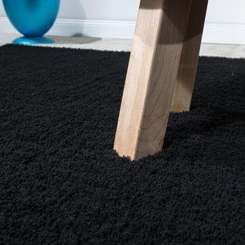 Shaggy Teppich Micro Polyester Wohnzimmer Teppiche Elegant Hochflor Schwarz – Bild 2