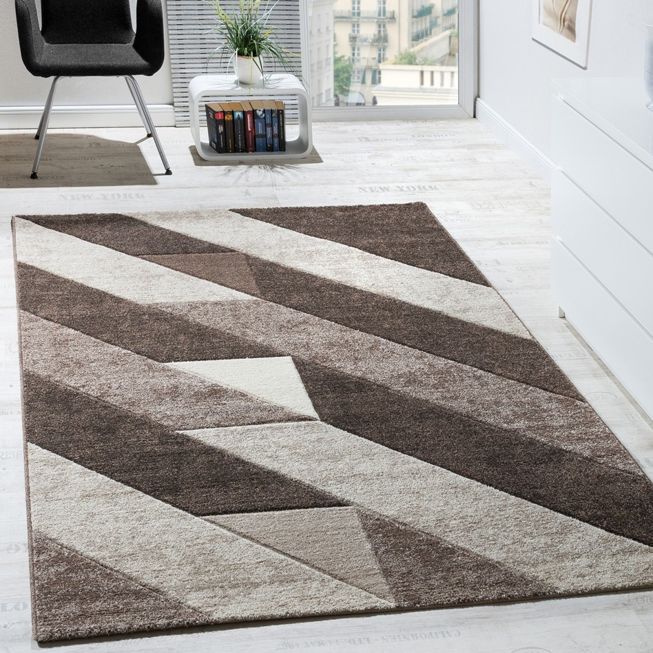 tapis design qualit diagonale rayures triangle 3d effet d 39 optique brun beige cr me tapis tapis. Black Bedroom Furniture Sets. Home Design Ideas
