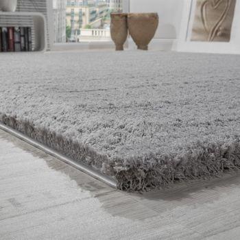 Shaggy Teppich Micro Polyester Wohnzimmer Teppiche Elegant Hochflor Grau – Bild 2