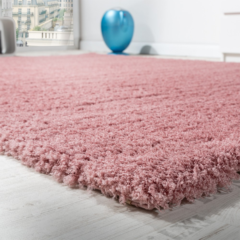 Shaggy Carpet Micro-Polyester Living Room Elegant Hard Wearing High Pile Pink
