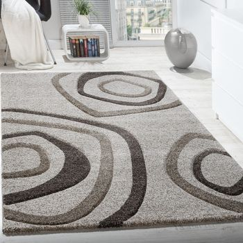 Designer Carpet Circle Pattern Short Pile Contour Cut Rug Mottled In Cream Beige – Bild 1