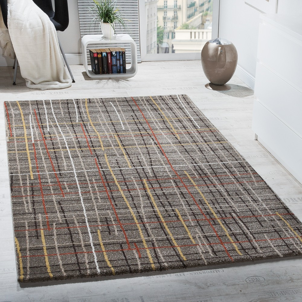 tapis design poils ras grille quadrill e effet d optique brun multicolore chin stock restant. Black Bedroom Furniture Sets. Home Design Ideas