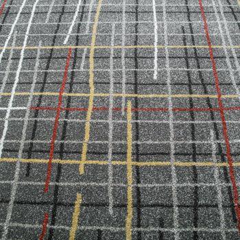 Designer Teppich Kurzflor Wohnzimmer Gitternetz Optik Braun Mehrfarbig Meliert  – Bild 2