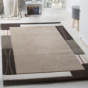 Designer Carpet With Border Contour Cut In Brown Grey