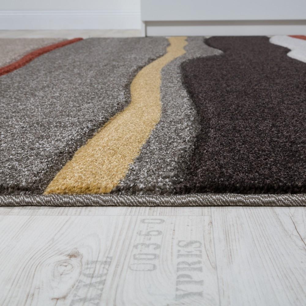 wohnzimmer teppich konturenschnitt wellen optik braun beige ausverkauf. Black Bedroom Furniture Sets. Home Design Ideas