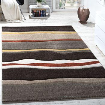 Designer Carpet Mud Flats Waves Brown Beige Cream Black