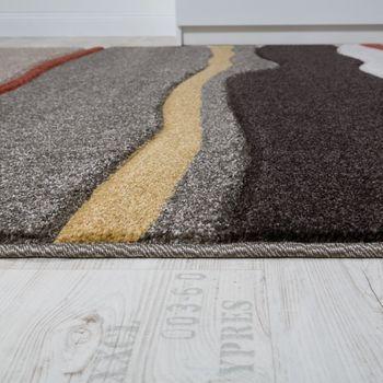 Designer Carpet Living Room Carpets Modern Mud Flats Waves Looking Brown Beige – Bild 2