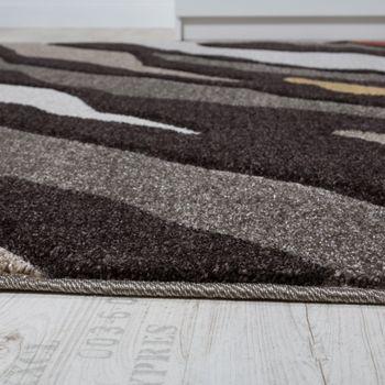 Designer Teppich Kurzflor Hoch-Tief Struktur Fell Optik Braun Beige Creme Weiß – Bild 2