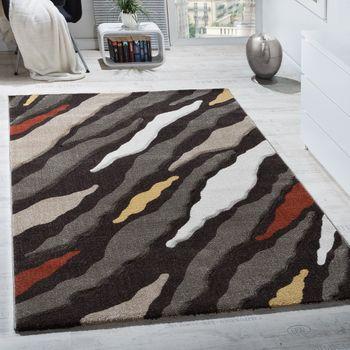 Designer Teppich Hoch-Tief Struktur Braun Beige