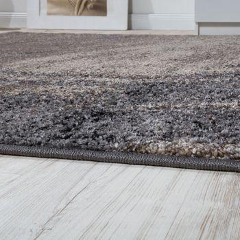 Edler Designer Teppich Hochtief-Effekt Kurzflor Relief Optik Beige Grau Meliert – Bild 2