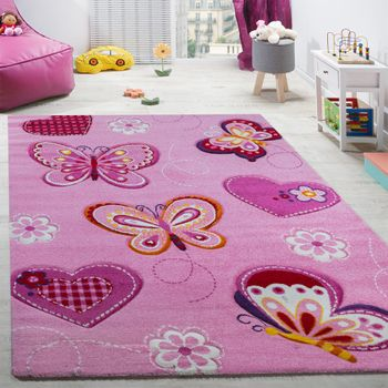 Child's bedroom rug children's rug with butterfly motif contour-cut pink – Bild 1