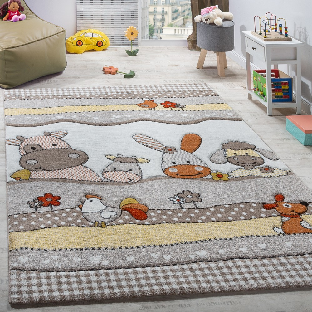 Children's funny farm animals contour-cut rug beige and grey