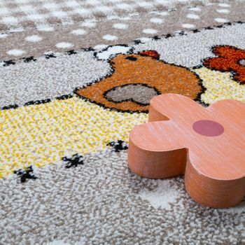 Children's funny farm animals contour-cut rug beige and grey  – Bild 3