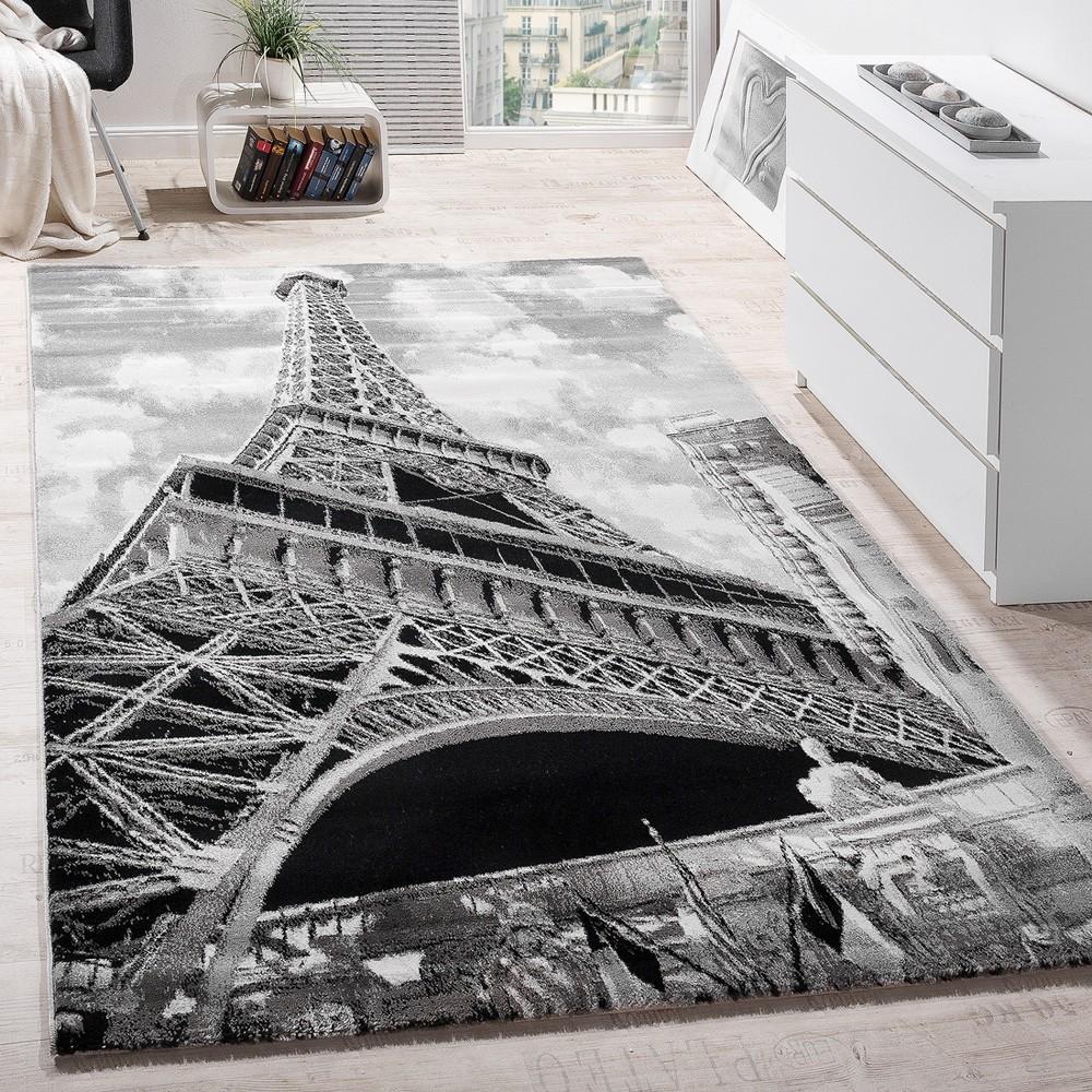 Designer Teppich Eiffelturm Motiv Grau Design Teppiche