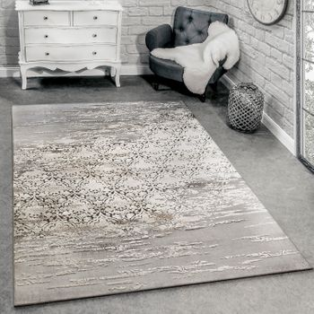 Designer rug mottled grey and beige